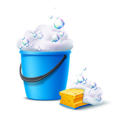 3d bucket and sponge with soapy bubbles vector image