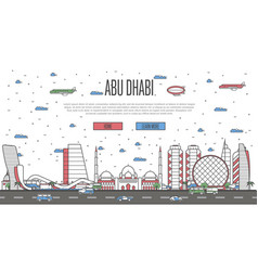 Abu dhabi skyline with national famous landmarks vector