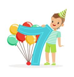 Adorable seven year old boy celebrating his vector