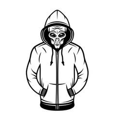 Alien in hoodie object or design element vector