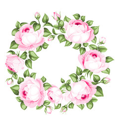 Awesome garland blooming roses vector