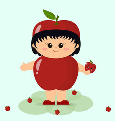 babe in a red apple costume vector image