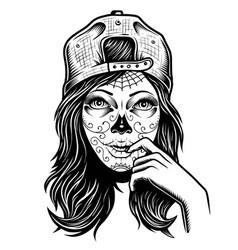 black and white skull girl vector image