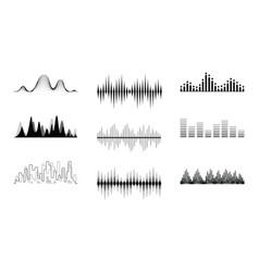 black waves music equalizer set vector image