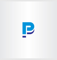 blue p letter icon sign element logo vector image