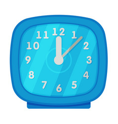 blue table clock square shape retro style time vector image