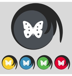 Butterfly sign icon insect symbol Set colourful vector image
