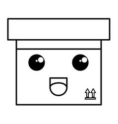 Carton box kawaii character vector
