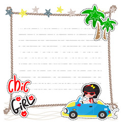 Chic girl drive a car on beach vector