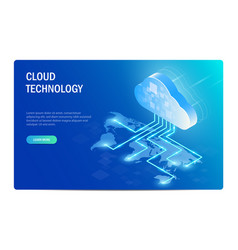 Cloud technology isometric concept distribution vector