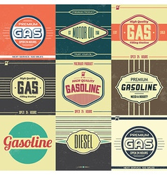 Collection of Retro Gasoline Signs Motor Oil vector image