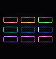 colorful neon frames set rectangle backgrounds vector image
