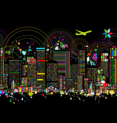colorful night metropolis seamless pattern for vector image
