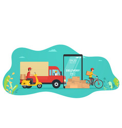 concept online service delivery goods truck vector image