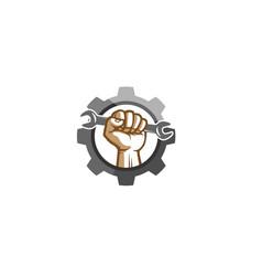 Creative mechanic gear hand wrench logo design vector