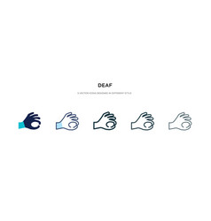 Deaf icon in different style two colored and vector