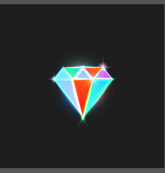 diamond logo is a bright gem with colorful facets vector image