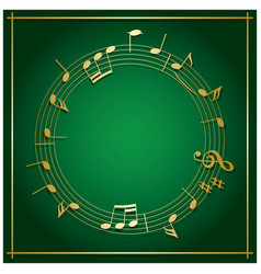 emerald green background with round music frame vector image