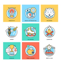 Flat color line design concepts icons 4 vector