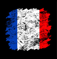 france flag grunge brush background old brush vector image