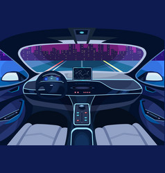 Futuristic car salon with gps autopilot vehicle vector