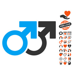 gay couple icon with lovely bonus vector image