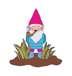 gnome coming out of the bushes with smoking pipe vector image