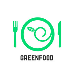 green food logo with tablewares vector image