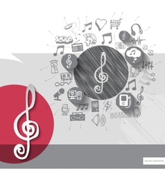 Hand drawn treble clef icons with icons background vector image