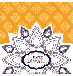 happy diwali festival mandala flower floral vector image
