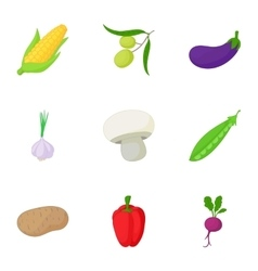 Healthy vegetables icons set cartoon style vector image