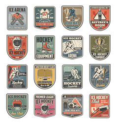 ice hockey sport icons players and sporting items vector image