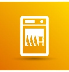 icon dishwasher appliance kitchen clean vector image