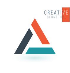 Letter a or delta geometric triangle logo design vector