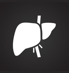 Liver icon on black background for graphic and web vector