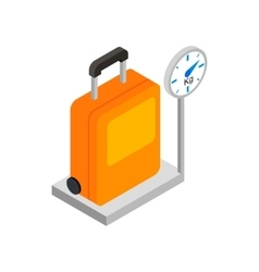 Luggage on scales 3d isometric icon vector