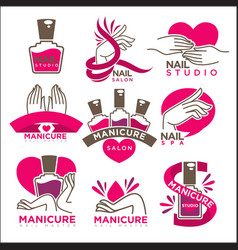 Manicure salon and nails studio flat icons vector