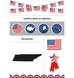 map of tennessee set of flat design icons vector image