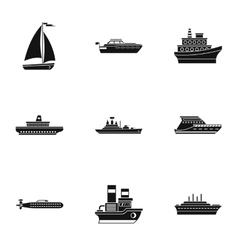 Maritime transport icons set simple style vector