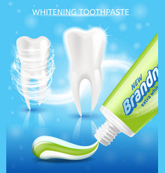 New toothpaste for teeth whitening promo vector