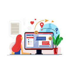 online training course and distance learning vector image