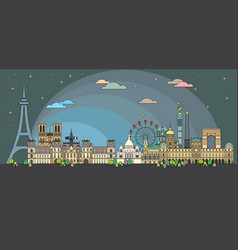 paris colorful line art 7 vector image