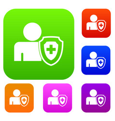 person and medical cross protection shield set vector image