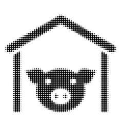 Pig farm halftone icon vector