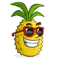 Pineapple cartoon character wearing sunglasses vector