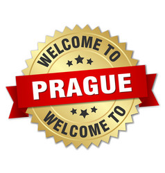 prague 3d gold badge with red ribbon vector image
