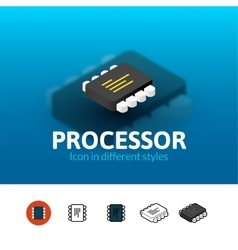 Processor icon in different style vector