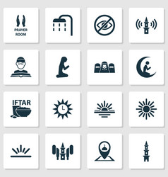 Ramadan icons set with room tower audio vector