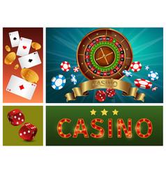 realistic casino bright composition vector image