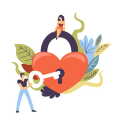 relationship themed finding key to heart concept vector image